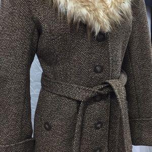 H&M Jackets & Coats - H & M Tweed Jacket With Faux Fur Collar Coat